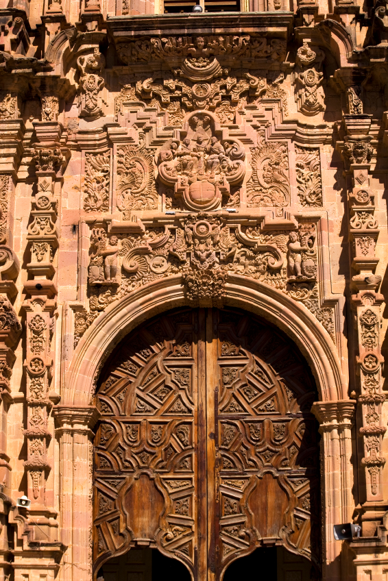 Ornate Wooden Door Valencia Church Guanajuato Mexico