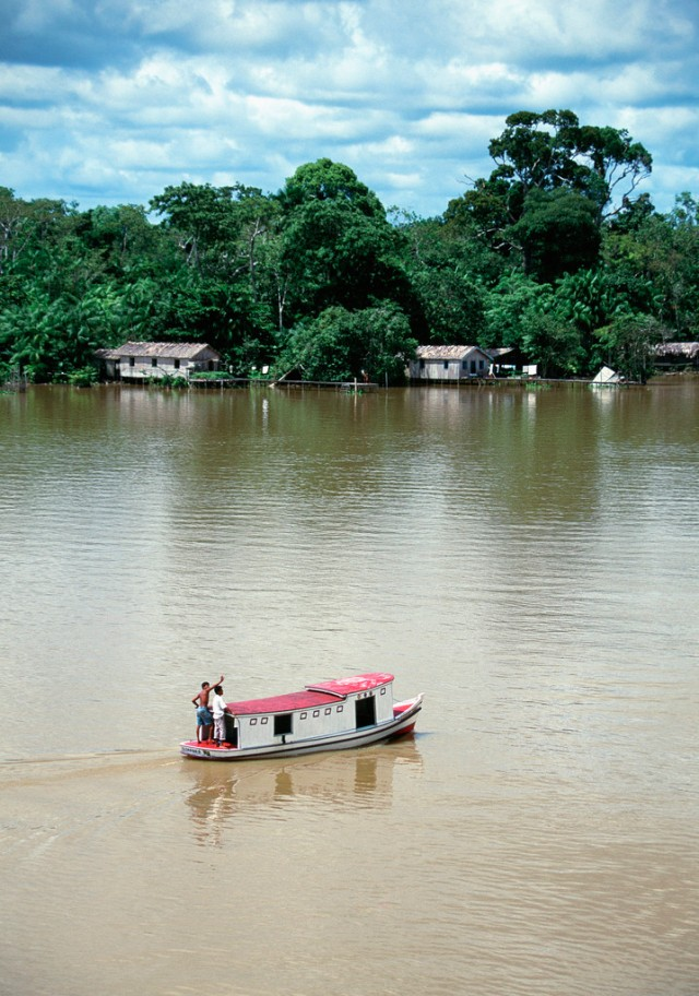 Houseboat on Breves Narrows on the Amazon River, Brazil